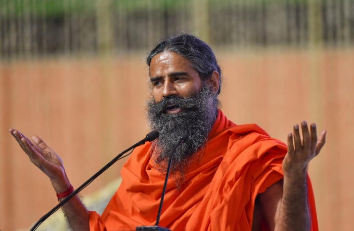 New Delhi: Yoga guru Baba Ramdev addresses an all party condolence meeting organised for former prime minister Atal Bihari Vajpayee, in New Delhi on Monday, Aug 20, 2018. (PTI Photo/Kamal Kishore) (PTI8_20_2018_000253B)