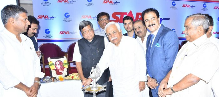 Revenue Minister R V Deshpande, former chief minister Jagadish Shettar, Sanjay Ghodavat Group chairman Sanjay Ghodavat and others present at the launch.