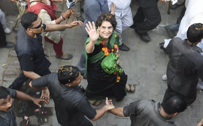 In this May 4, 2014 file photo Priyanka Vadra is seen during a road show in Amethi. PTI
