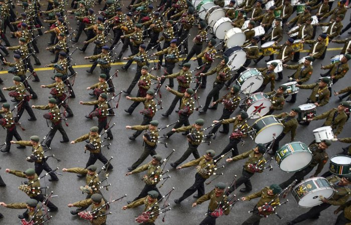 Tri-services bands rehearse for the Beating Retreat ceremony in New Delhi. PTI photo