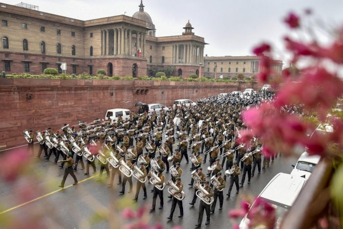 Tri-services bands rehearse for the Beating Retreat ceremony, in New Delhi. PTI