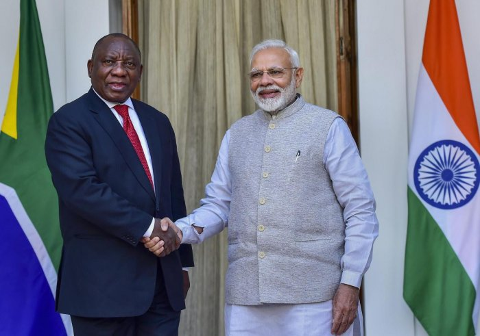 Prime Minister Narendra Modi greets South African President Cyril Ramaphosa prior to a meeting at Hyderabad House in New Delhi on Friday. PTI file photo