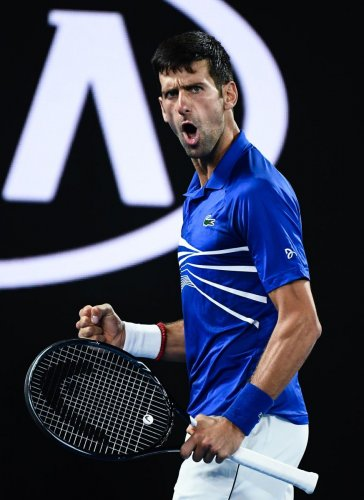 WINNER'S ROAR: Serbia's Novak Djokovic reacts after a point against France's Lucas Pouille during their semifinal on Friday. AFP