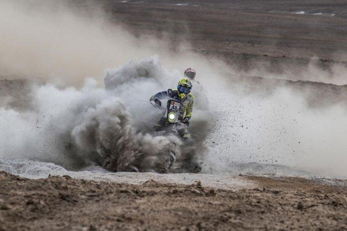 KP Aravind ofSherco TVS Rally Factory Team navigates a challenge at the Dakar Rally.