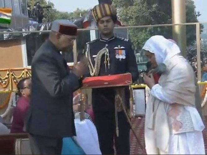 The award -- India's highest peacetime gallantry honour -- was received by Wani's wife and mother at the Republic Day celebrations at Rajpath. Wani is the first Kashmiri to be conferred the Ashoka Chakra.