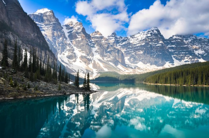 Moraine Lake in the Rocky Mountains.