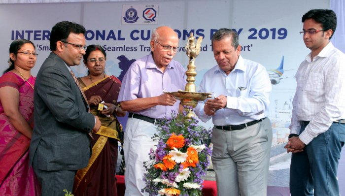 MAHE former VC Prof B M Hegde and Nitte University Chancellor N Vinaya Hegde inaugurate the International Customs Day programme organised on the premises of New Customs House in Panambur on Friday. Imamuddin Ahmed, additional commissioner, Mangalore Custo