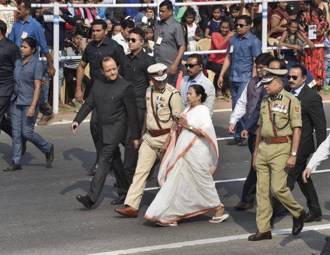 West Bengal Chief Minister Mamata Banerjee arrives to attend the 70th Republic Day celebrations at Red Road, in Kolkata, Saturday. PTI photo