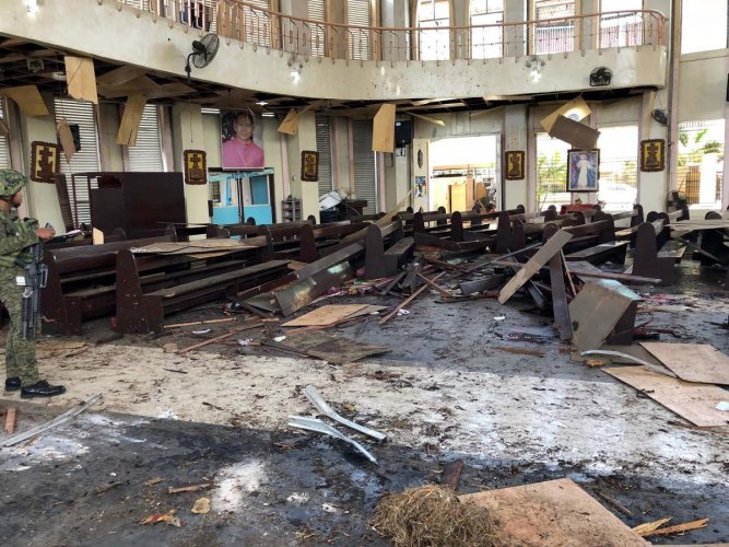 Debris inside a Catholic Church where two bombs exploded in Jolo, Sulu province on the southern island of Mindanao. AFP photo