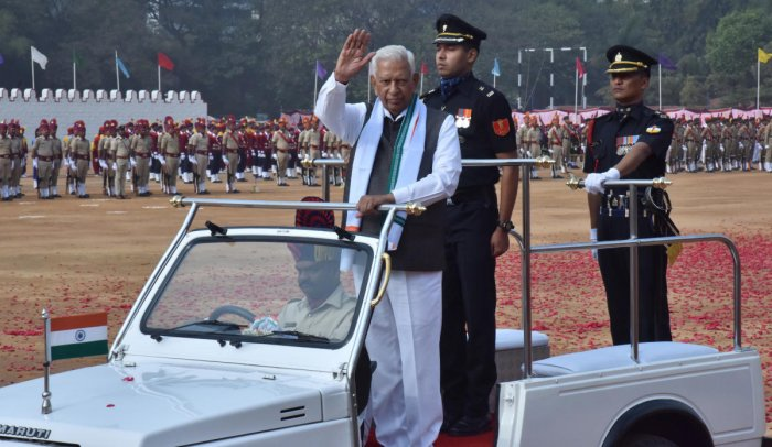 Governor Vajubhai Vala inspects the parade at the Republic Day celebrations at the Field Marshal Manekshaw parade ground in Bengaluru on Saturday. Dh photo