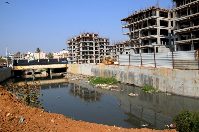 A view of the Rajakaluve Encroachment of which is encroached, at Agara Lake Rajakaluve in Bengaluru on Friday.-Photo/ Kotekar