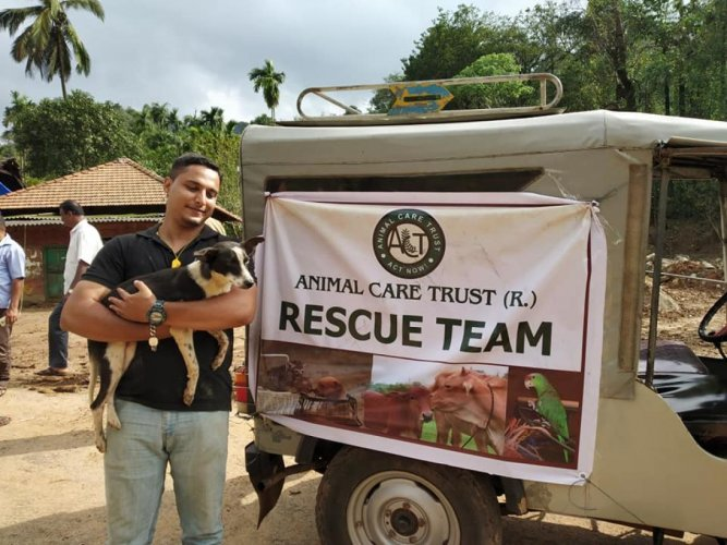 have a heart ACT and its active volunteer Tauseef Ahmed in a rescue mission in Mangaluru. Photo by Govindraj Javali