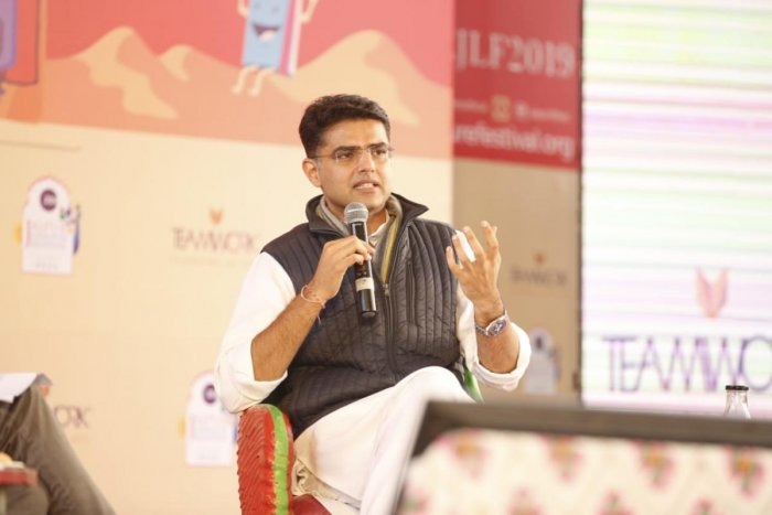 Caption - Photo by Suman Sarkar Sachin Pilot while speaking at Char Bagh on the day one of Jaipur Literature Festival.
