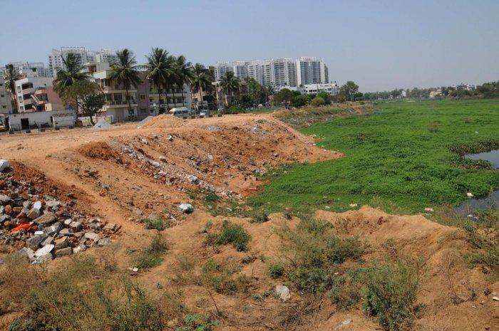 The Saarakki lake encroached in many places, at Puuttenahalli in Bengaluru on Saturday -Photo/ Kotekar