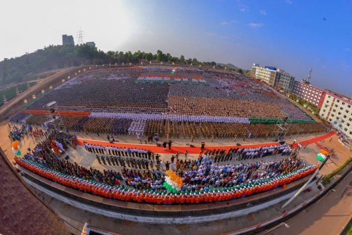 An aerial view of the Republic Day celebrations organised by the Alva's Education Foundation at Moodbidri on Saturday.