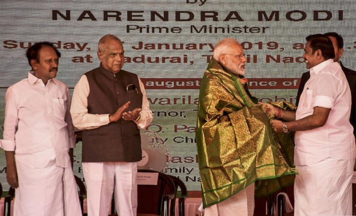 Prime Minister Narendra Modi being greeted by Tamil Nadu Chief Minister K Palaniswami at the foundation stone laying ceremony of All India Institute of Medical Sciences (AIIMS) in Madurai, Sunday, Jan. 27, 2019. (PTI Photo)