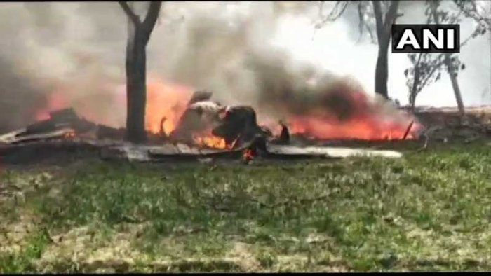 According to reports, the pilot of the Jaguar fighter aircraftbailed out before the crash. ANI Photo.