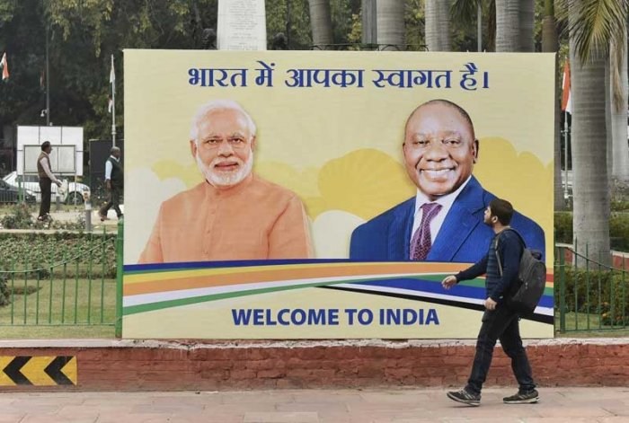 A hoarding of Prime Minister Narendra Modi and South African President Cyril Ramaphosa is seen at Teen Murti in New Delhi. Ramaphosa will be the chief guest at the 70th Republic Day parade. (PTI Photo)