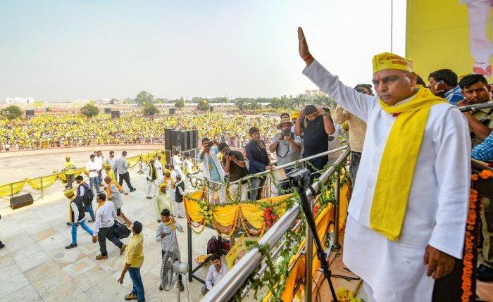 Suheldev Bhartiya Samaj Party (SBSP)president Om Prakash Rajbhar. PTI photo.