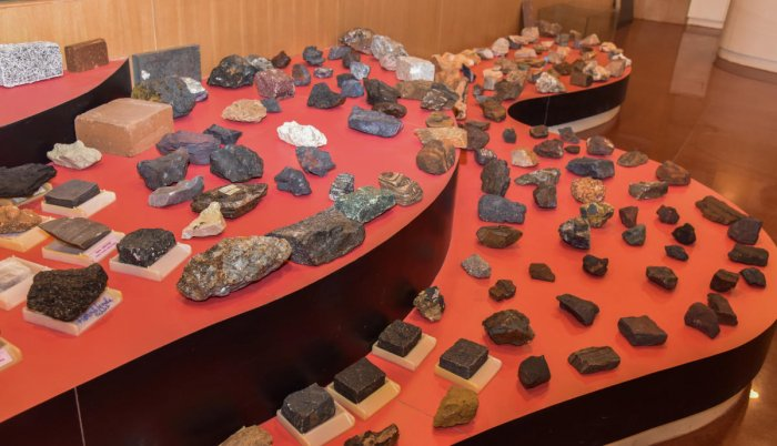 Stone Exhibition at Mines and Geology department at Khanija Bhavan, Race course road, Sheshadripuram in Bengaluru on Monday. State's first stone museum at Mines and Geology department showcases all the stones extracted from across India. The museum will b