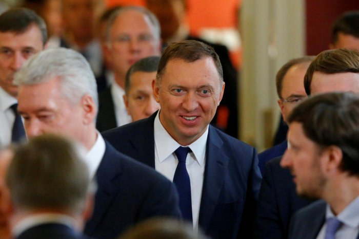Russian aluminium tycoon Oleg Deripaska leaves after the talks of Russian President Vladimir Putin with South Korean President Moon Jae-in at the Kremlin in Moscow. Reuters file photo.