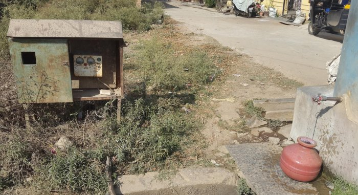 A view of a starter box on Undedasarahalli Main Road in Chikkamagaluru.