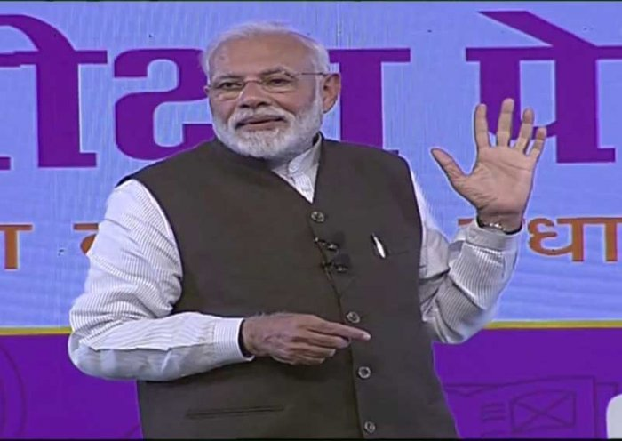 Prime minister Narendra Modi interacts with students during the Pariksha Pe Charcha 2.0 in New Delhi on Tuesday. (Video grab)