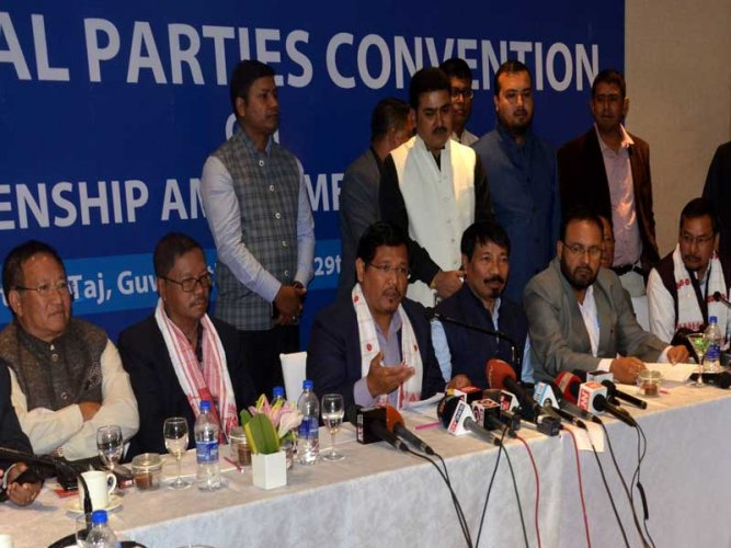 Leaders of the regional parties in the Northeast in a convention in Guwahati on Tuesday. Photo by Manash Das