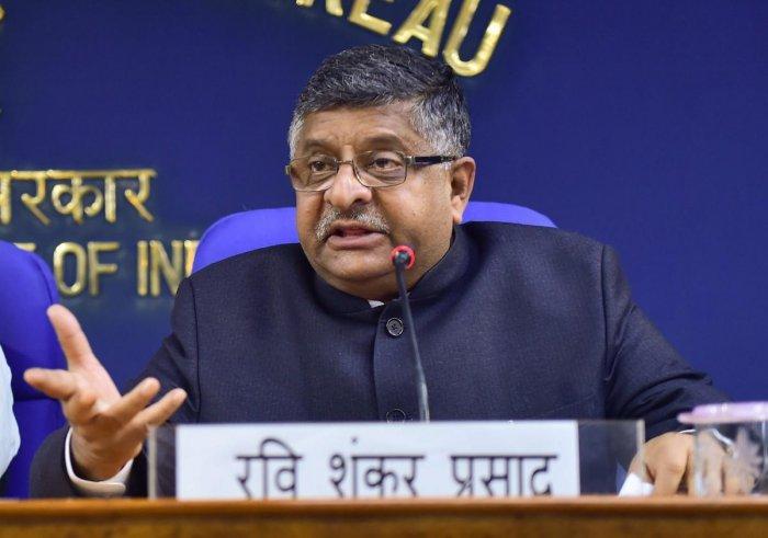 Union Law and Justice Minister Ravi Shankar Prasad