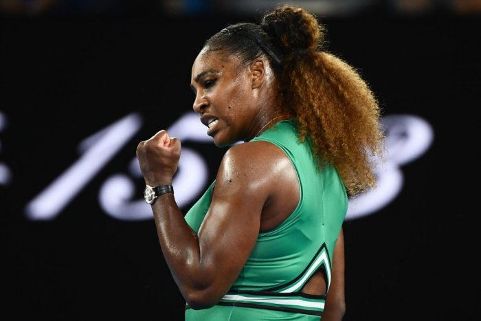 Serena Williams celebrates a point against Eugenie Bouchard.