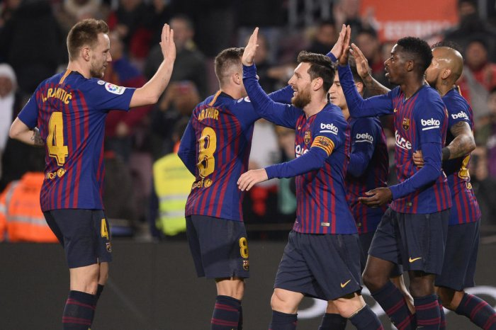 TEAM EFFORT: Barcelona's Ousmane Dembele (second from right) celebrates with team-mates after scoring against Levante on Thursday. AFP