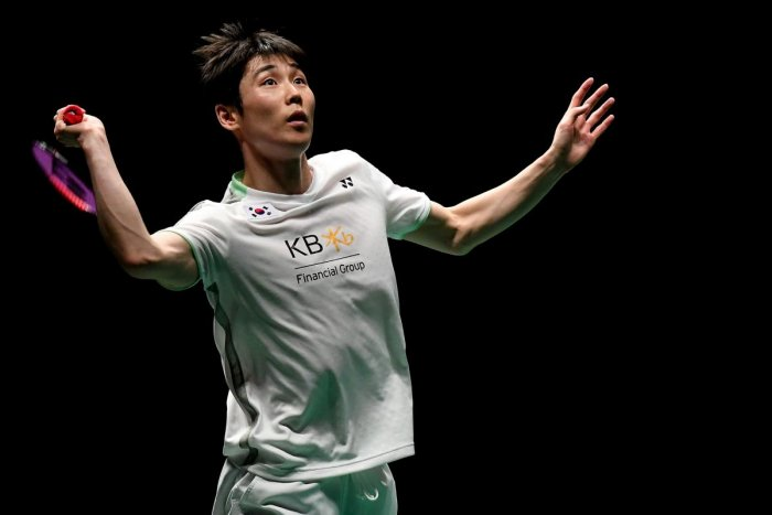 SUPERB SHOW: South Korea's Son Wan-ho returns during his win over Chen Long of China on Sunday. AFP