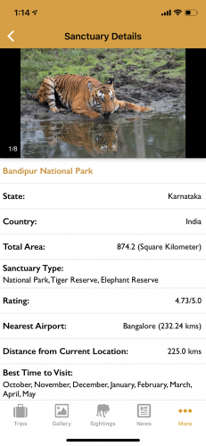 Details of 600 sanctuaries and forests in the country are listed on the app.