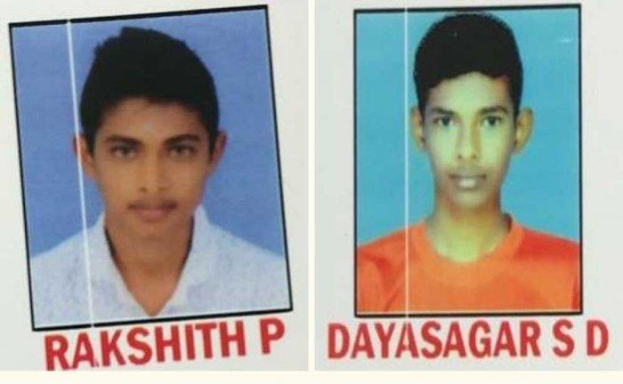 The deceased Dayasagar SD and Rakshith P (L).