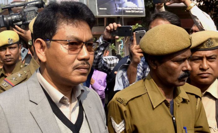 NDFB chief Ranjan Daimary outside the special court in Guwahati on Wednesday. Photo by Manash Das, Guwahati.