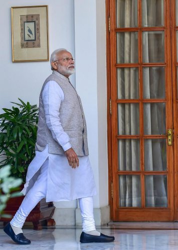 Prime Minister Narendra Modi arrives for a meeting with South African President Cyril Ramaphosa at Hyderabad House, in New Delhi. PTI