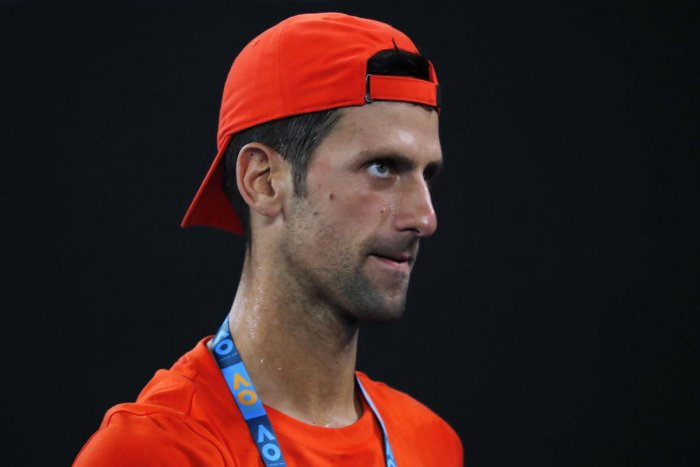 Serbia's Novak Djokovic during a practice session. Reuters photo