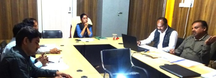 Zilla Panchayat CEO and In-charge Deputy Commissioner K Lakshmi Priya chairs a meeting on the preventive measures against the outbreak of Kyasanuru Forest Disease (KFD).