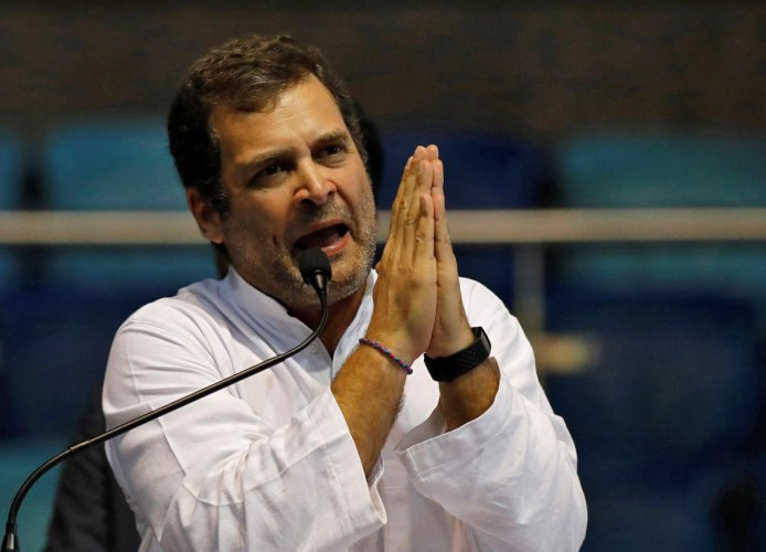 """Rahul Gandhi, President of India's main opposition Congress party, gestures as he addresses his supporters at the end of the party's youth wing's """"Yuva Kranti Yatra"""" campaign in New Delhi, India, January 30, 2019. REUTERS"""