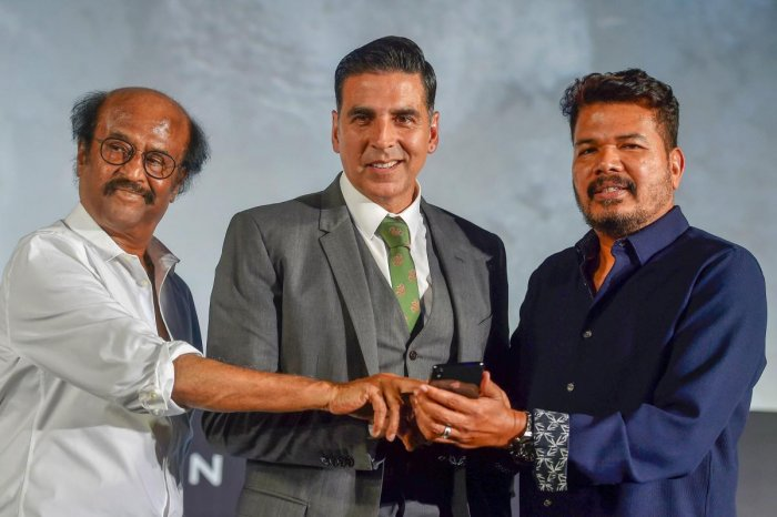 "A file photo of Tamil superstar Rajinikanth, Bollywood Actor Akshay Kumar and Director Shankar at the trailer launch of ""2.0"" in Chennai. (PTI)"