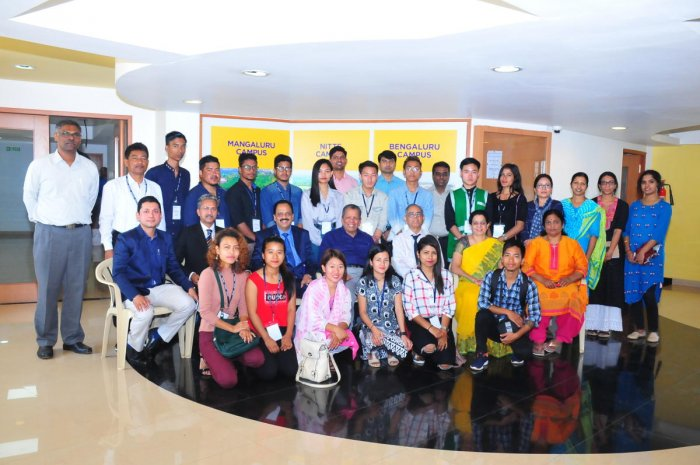 A delegation of North Eastern students with the Nitte Deemed to be University Chancellor N Vinay Hegde and others.