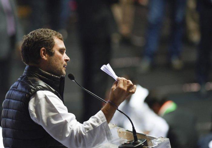 Congress president Rahul Gandhi addresses the Indian Youth Congress' Yuva Kranti Yatra rally at Talkatora Stadium in New Delhi. PTI photo