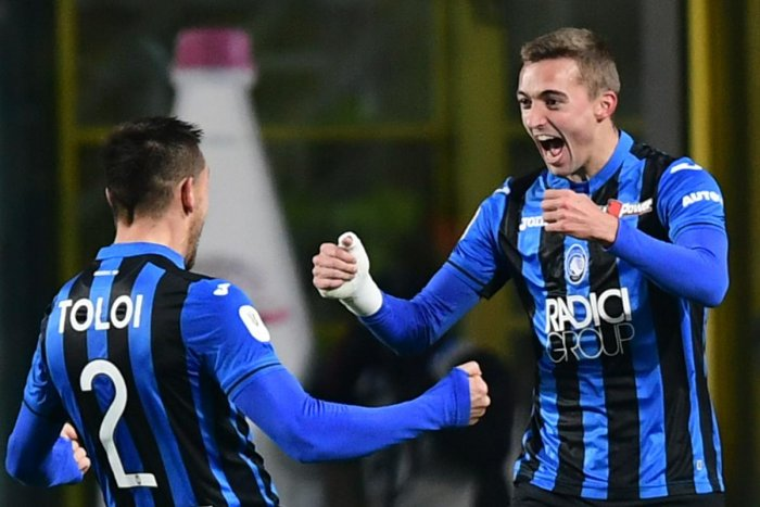FIRST STRIKE: Atalanta's Timothy Castagne (right) celebrates with team-mate Rafael Toloi after scoring the opening goal against Juventus on Wednesday. AFP
