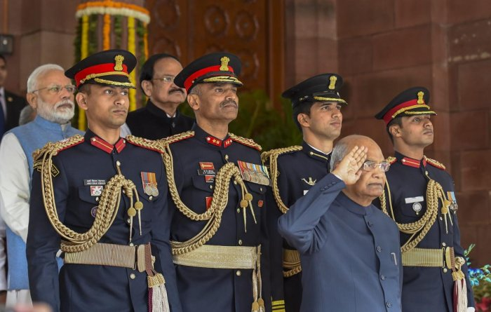 President Ram Nath Kovind takes salute on his arrival to address the joint session of Parliament, to mark the commencement of the Budget Session, in New Delhi. PTI photo