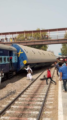The engine of the Dayodaya Express overturned and the immediate coach after it derailed near Sanganer railway station -- 15 km south of Jaipur -- around 1 pm, a North Western Railway spokesperson said. (Image: ANI/Twitter)