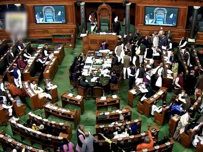 Soon after Speaker Sumitra Mahajan took her seat, members from opposition parties, including the Congress and the Left, alleged that proposals of the interim budget were leaked to the media even before the document was presented in the House. (PTI File Photo)