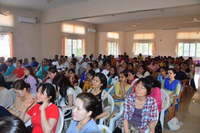 Delegates at the valedictory of international workshop on Yoga therapy organised at the Dr D Veerendra Heggade Seminar Hall of the lecture complex of Mangalore University on Wednesday.