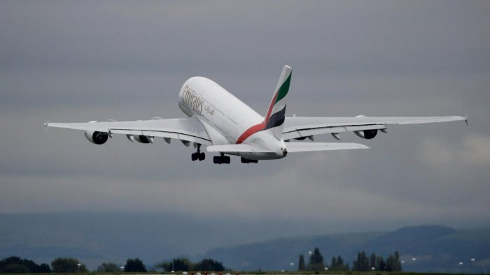 An Emirates Airbus A380-800 aircraft takes off from Manchester Airport in Manchester. (REUTERS File Photo)