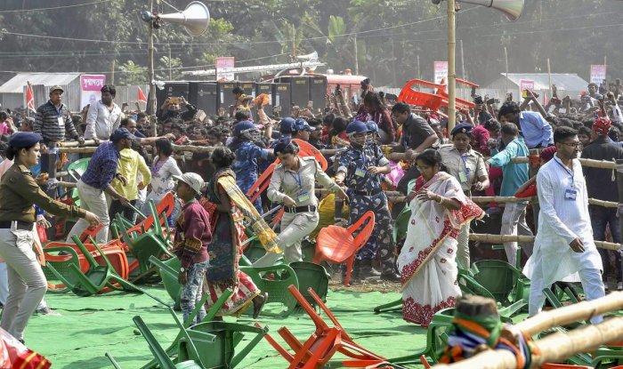 Stampede like sitution during Prime Minister Narendra Modi's rally at the International Matua Maha Sammelan and Dharma Sabha at Thakurnagar in North 24 Parganas, Saturday, Feb 2, 2019. (PTI Photo/Ashok Bhaumik)