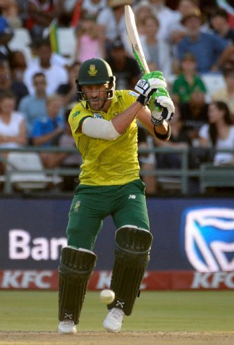 South Africa's Faf du Plessis plays a shot during their first T20 match against Pakistan in Cape Town on Friday. AFP
